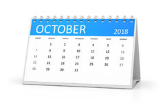 Table calendar 2018 october. 3d rendering of a table calendar for your events 2018 october Royalty Free Stock Photos