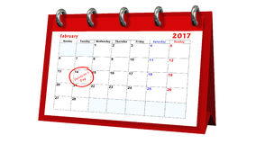 Table calendar showing the date 14th of February, the Valentines Day Royalty Free Stock Photo