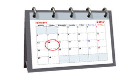 Table calendar showing the date 14th of February, the Valentines Day Royalty Free Stock Photos