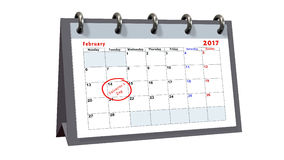 Table calendar showing the date 14th of February, the Valentines Day Royalty Free Stock Images