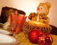 Table with candle for Christmas dinner Stock Photography