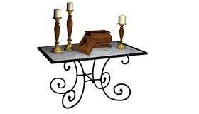 Table with Candles. Computer rendered 3d image royalty free illustration