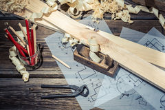 Table carpenter in a workshop Stock Photo
