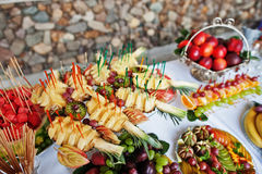 Table catering with different fruits such as watermelon, pineapp Stock Image