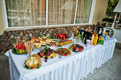 Table catering with different fruits such as watermelon, pineapp Stock Photography