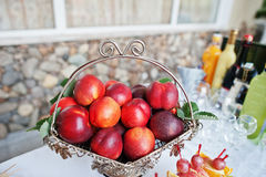 Table catering with different fruits such nectarine at wedding r Stock Photography