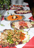 Table with catering food Stock Images