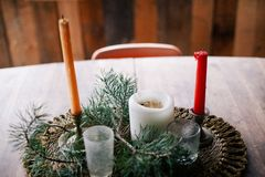 Table Center Piece With Candles Royalty Free Stock Images