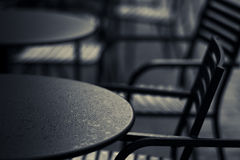 Table and chair. Coffee bar's table and chair in rainy day Stock Photography