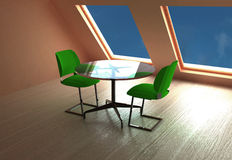 Table and chair. Modern interior render.Made it 3d studio max Royalty Free Stock Image