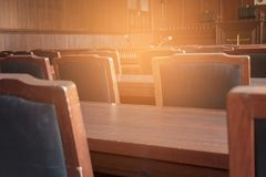 Table and chair in the courtroom. Of the judiciary royalty free stock image