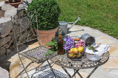 Table and chair in the garden, seat Royalty Free Stock Photography