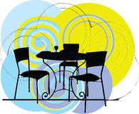 Table & chair illustration Stock Images