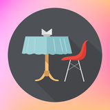 Table chair napkins vector flat Royalty Free Stock Photo