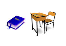 Table chair with near Bible Stock Photography