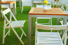 Table and chair setting in outdoor restaurant Stock Photography