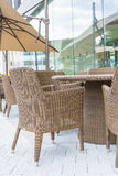 Table and chair with  umbrella outdoor patio Stock Photography