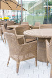 Table and chair with  umbrella outdoor patio Royalty Free Stock Photos