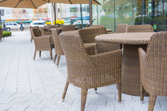 Table and chair with  umbrella outdoor patio Stock Photo