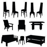 Table and chair vector black Stock Photo