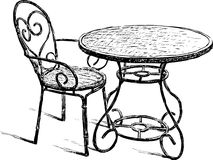 Table and chair royalty free illustration