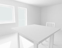 Table and chair in white room Stock Images