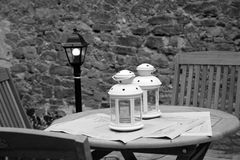Table and chairs. In Castiglione della Pescaia - Tuscany - Italy Royalty Free Stock Photography