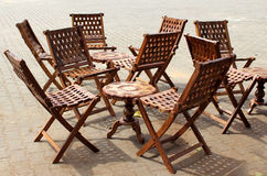 Table and chairs. In an outdoor Royalty Free Stock Images