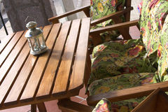 Table and chairs. Wooden table and chairs Royalty Free Stock Image
