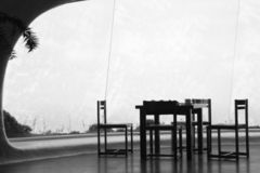 Table and chairs. A black and white picture of a table and some chairs Stock Photography