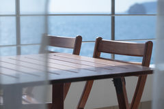 Table and chairs on a balcony Royalty Free Stock Photography