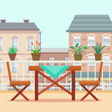 Table and chairs on the balcony. Royalty Free Stock Images