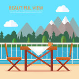 Table and chairs on the balcony. With nature landscape. Flat style vector illustration Stock Photography