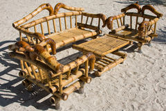 Table and chairs on the beach Thailand. Royalty Free Stock Photography
