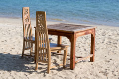 Table and chairs with a beautiful sea view on island Koh Chang, Thailand. Stock Photography