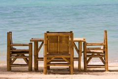 Table and chairs with a beautiful sea view , Thailand. Royalty Free Stock Image