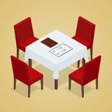 Table with chairs for cafes. Modern table and chairs on white background. Flat 3d isometric vector illustration. Royalty Free Stock Image