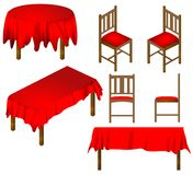 Table and Chairs Dining room furniture vector. Round and square table with chairs red tablecloth, dining room furniture isolated on white background Royalty Free Stock Image