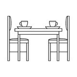 Table and chairs in dinning Stock Photos