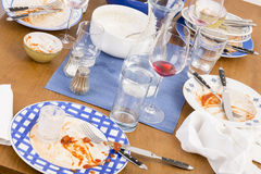 Table, chairs and dishes Stock Image