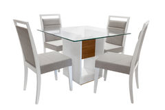 Table and chairs. Table and four chairs on white background Royalty Free Stock Image