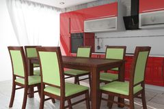 Table and Chairs in Front Of Modern Red Kitchen Furniture with Kitchenware Interior. 3d Rendering. Table and Chairs in Front Of Modern Red Kitchen Furniture with stock photography