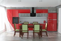 Table and Chairs in Front Of Modern Red Kitchen Furniture with Kitchenware Interior. 3d Rendering. Table and Chairs in Front Of Modern Red Kitchen Furniture with royalty free stock photo