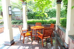 The table and chairs in garden Stock Photos