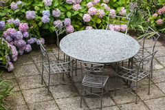 Table and chairs in garden with color hydrangea Royalty Free Stock Image