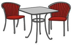 Table and chairs. Hand drawing of a cafe table and chairs Royalty Free Stock Images