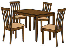 Table and chairs. Hand drawing of a wooden table and four chairs Royalty Free Stock Images