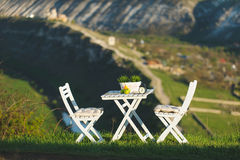 Table and Chairs on Hill Royalty Free Stock Photo