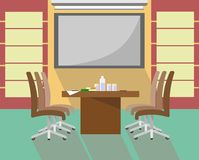 Table with chairs in the interior for presentations, negotiations and meetings in the style of flat vector illustration