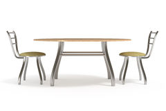 Table and chairs, isolated on white, clipping path. Table and chairs, isolated on white, with clipping path, 3d illustration Stock Image